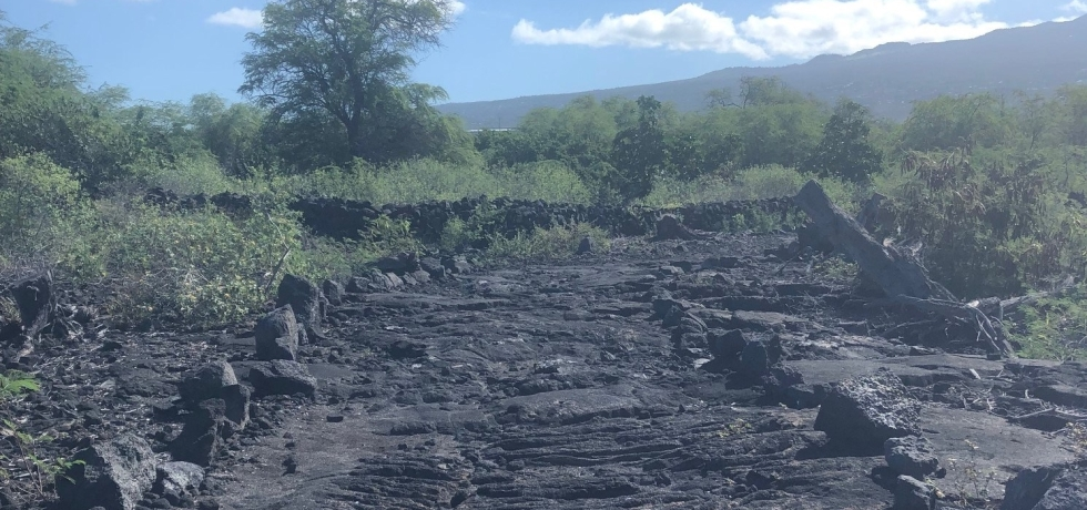Rocky trail in Kaloko Honokohau park on The Big Island